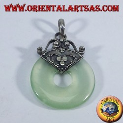 Silver Pendant with donut Jade 30mm.
