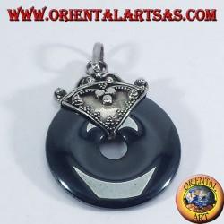 Ciondolo d'argento con ciambella in Ematite da 30 mm.