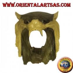 Maschera testa di tigre di legno