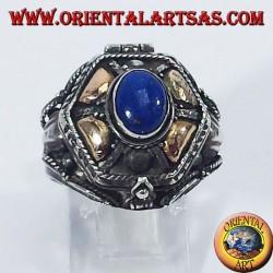 Bague en argent apporte le poison d'or et de lapis lazuli plaquettes