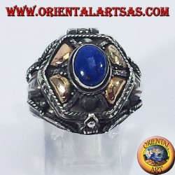 Silver ring brings poison with gold and lapis lazuli platelets