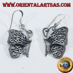 Silver earrings butterfly pendants