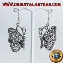 Silver earrings butterfly pendants