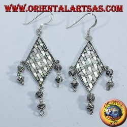 Silver earrings strands turbot with pendants