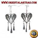 Orecchino d'argento cuore di filigrana con pendenti