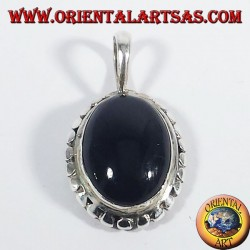 Silver Pendant with onyx oval