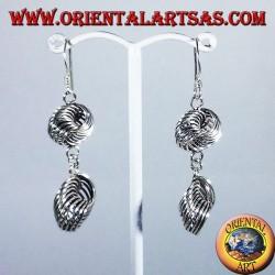 Orecchino d'argento, due nodo di anelli