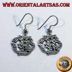 inlaid silver earrings, Om (ॐ) sacred syllable