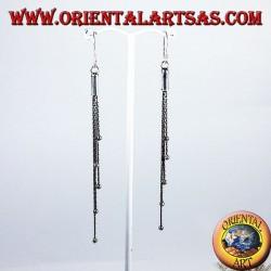 orecchini d'argento lungo cinque catenine