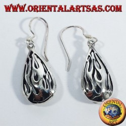 Silver earrings Flame Fire