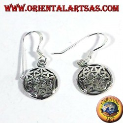 Silver earrings flower of life, small
