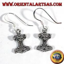 Silver earrings Mjollnir, Thor's Hammer