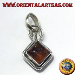 Silver Pendant with Amber mounted to rumble