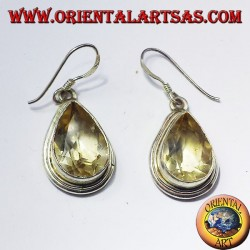 Silber-Ohrringe mit Topas in facettiert Tropfen