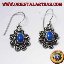 silver earrings with oval turquoise