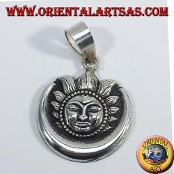 Silver pendant sun moon Nepalese