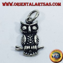 Silver pendant, owl on branch bifacial