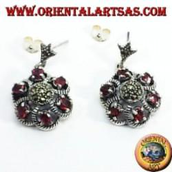 orecchini d'argento con granato e marcasite