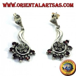 silver earrings with marcasite flower surrounded garnet
