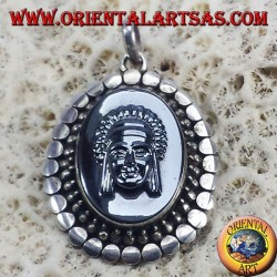 Silver Pendant with Cameo on Hematite