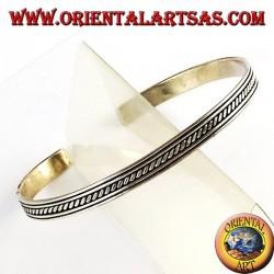 Silber-Armband starr mit Quereinsätze in die Schienen