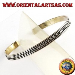 Silver bracelet rigid with transverse inserts into the rails