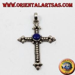Silver pendant, cross with lapis lazuli