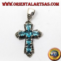 pendant, silver cross and marcassiti with six blue topaz