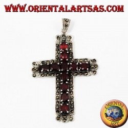 "кулон ""серебряный крест с гранатами и marcassiti"