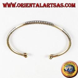 Silver bracelet, hand carved round profile