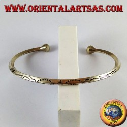 Silver bracelet, hand carved rhombus profile