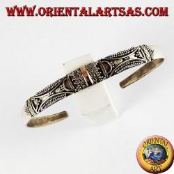 silver bracelet, with plates 14 karat gold handmade