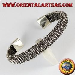 Bracciale d'argento, intreccio a rete flessibile curva