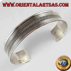 Bracciale d'argento, rigido treccia con righi