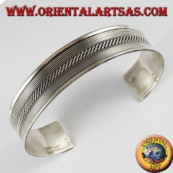 Silver Bracelet, hard-braided lines