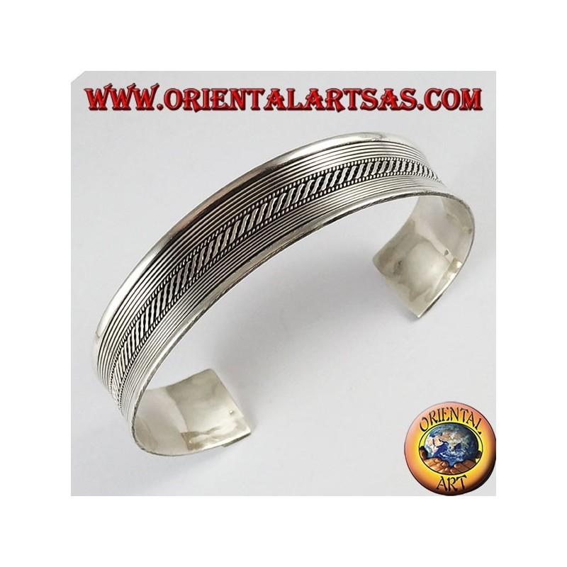 1637cb14dd24e3 Bracciale d'argento 925 ‰ , rigido treccia con righi
