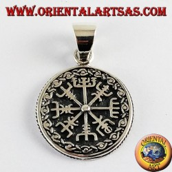 Silver pendant and Aegishjalmur vegvisir with Celtic runes