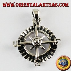Silver Pendant rose compass