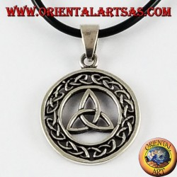 Silver Pendant Triquetra in Celtic knot circle