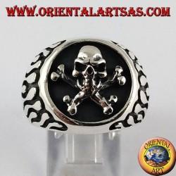 Silber Ring, Flamme Piratenschädel