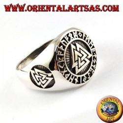 anillo de plata, nudo de Odin con runas celtas
