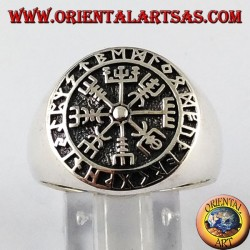 Silver ring, Aegishjalmur and vegvisir with Celtic runes