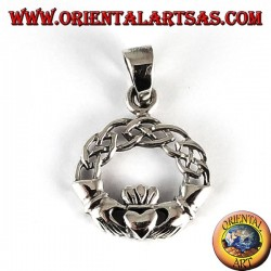 Ciondolo  d'argento, claddagh con nodo celtico