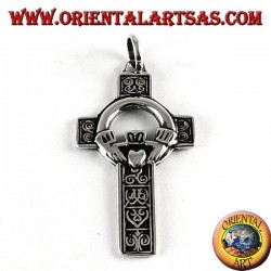 Silver pendant, Celtic cross with claddagh