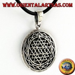 silver pendant Sri Yantra in lotus