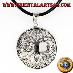 ciondolo in argento, albero della vita con sole e luna