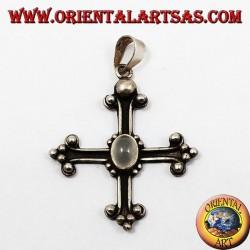ciondolo d'argento, croce ancorata con pietra di luna adularia