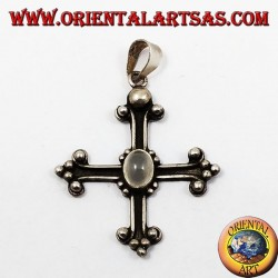 Silver pendant, cross anchored with adularia moonstone