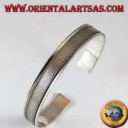 Bracciale d'argento rigido , disegno rete