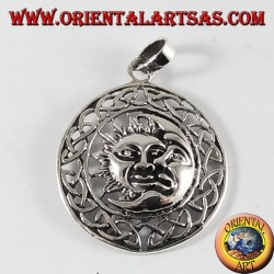silver pendant, sun and moon in the Celtic wheel